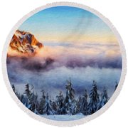 Nature Landscape Pictures Round Beach Towel
