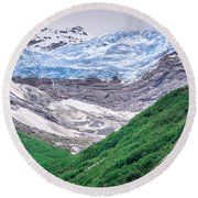 Glacier And Mountains Landscapes In Wild And Beautiful Alaska Round Beach Towel