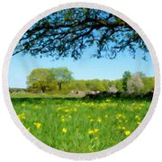 Landscapes Oil Painting Round Beach Towel