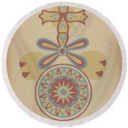 "Santa Barbara Mission Doorway Design From The Portfolio ""decorative Art Of Spanish California"" Round Beach Towel"