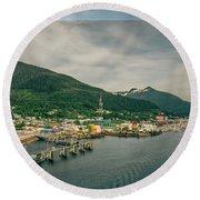 Scenery Around Alaskan Town Of Ketchikan Round Beach Towel