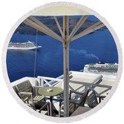 28 September 2016 Restaurant By The Aegean Sea  In Santorini, Greece  Round Beach Towel