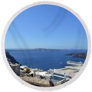 28 September 2016 White Houses By The Sea In Santorini, Greece  Round Beach Towel