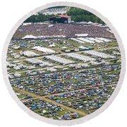 Bonnaroo Music Festival Aerial Photography Round Beach Towel