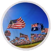 Pepperdine Flag Salute Round Beach Towel