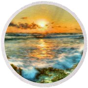 Nature Landscape Pictures Round Beach Towel
