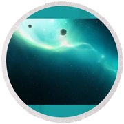 29885 3d Space Scene Outer Space Round Beach Towel