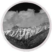 2d07509-bw High Peaks In Lost River Range Round Beach Towel