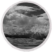 2d07517-bw Storm Over Lost River Range Round Beach Towel
