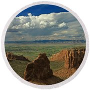 2d10338 Thunderhead Over Independence Monument Round Beach Towel
