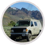 2da5944-dc Our Sportsmobile At Steens Mountain Round Beach Towel