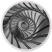 2x1 Abstract 434 Bw Round Beach Towel