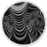 2x1 Abstract 435 Bw Round Beach Towel