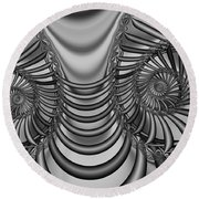 2x1 Abstract 436 Bw Round Beach Towel
