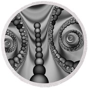 2x1 Abstract 438 Bw Round Beach Towel