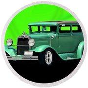 1930 Ford Tudor Sedan Round Beach Towel
