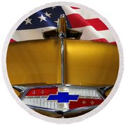 1954 Chevrolet Hood Emblem Round Beach Towel