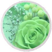 A Gift Of Preservrd Flower And Clay Flower Arrangement, White An Round Beach Towel