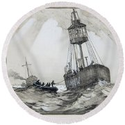 A Lightship's Xmas Dinner Round Beach Towel