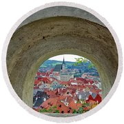 A View Of Cesky Krumlov In The Czech Republic Round Beach Towel