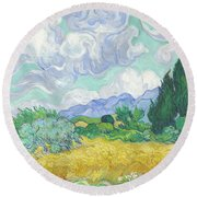 A Wheatfield With Cypresses Round Beach Towel