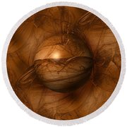 Abstract Brown Globe Round Beach Towel