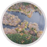 Aerial View Of The Forrest With Different Color Trees.  Round Beach Towel
