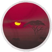 African Sunrise Round Beach Towel