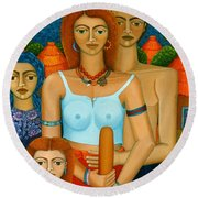 3 Ages Of A Woman And A Man Round Beach Towel