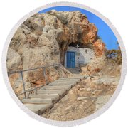 Agioi Saranta Cave Church - Cyprus Round Beach Towel