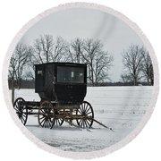 Amish Buggy Near Shipshe Round Beach Towel