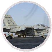 An Fa-18f Super Hornet Ready To Launch Round Beach Towel