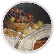 Apples And Grapes Round Beach Towel by Claude Monet