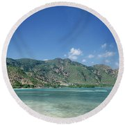 Areia Branca Tropical Beach View Near Dili In East Timor Round Beach Towel