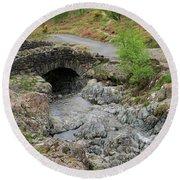 Ashness Stone Packhorse Bridge, Lake District National Park Round Beach Towel