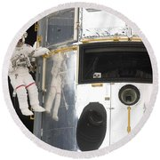 Astronauts Working On The Hubble Space Round Beach Towel