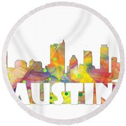 Austin Texas Skyline Round Beach Towel