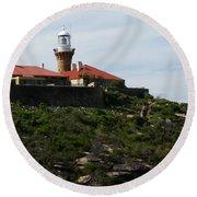 Australia - Barrenjoey Lighthouse On Solid Rock Round Beach Towel