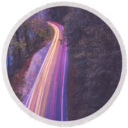 Automobile Traffic Long Exposure At Dusk In Pisgah National Park Round Beach Towel