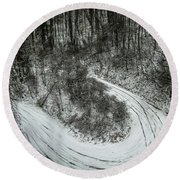 Bad Road Conditions While Driving In Winter Round Beach Towel