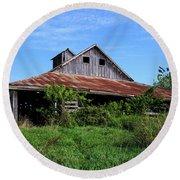 Barn In The Blue Sky Round Beach Towel