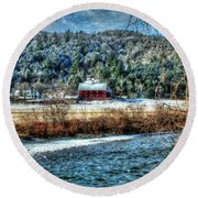 Vermont Farm By The River Round Beach Towel