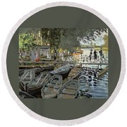 Bathers At La Grenouillere Round Beach Towel