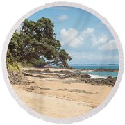 Beach In New Zealand Round Beach Towel