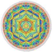 Birth Mandala- Blessing Symbols Round Beach Towel