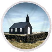 Black Church Of Budir, Iceland Round Beach Towel