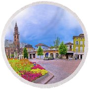 Bolzano Main Square Waltherplatz Panoramic View Round Beach Towel