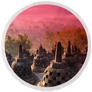 Borobudor Temple Round Beach Towel