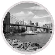 Brooklyn Bridge - New York City Skyline Round Beach Towel