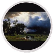 Buffalo Trail  The Impending Storm Round Beach Towel